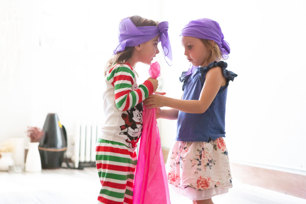 5 year olds in costumes playing mary poppins at theatre summer camp