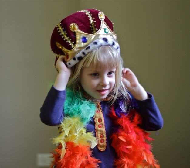 5 year old plays in costume at fairy tale summer camp