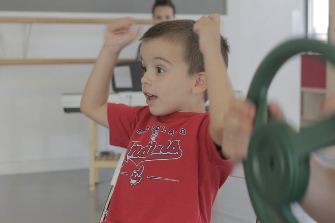 3 year old having fun at theatre summer camp
